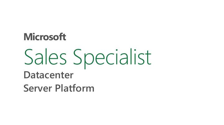 Sales Specialist Datacenter Server Platform